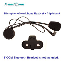 Free Shipping!!Freedconn Motorcycle T-COM Bluetooth Helmet Interphone Microphone/Headphone Headset + Clip Mount(China)