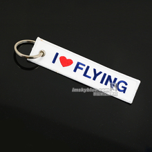 I Love Flying Travel Luggage Tag White Cloth with Blue Embroider Bag Tag for Pilot Flight Crew Airman Hostess(China)