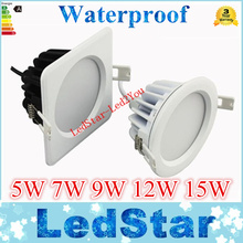 sauna room Square Waterproof Led Downlights IP65 Round 5W 7W 9W 12W 15W High Brightness AC 85-265V Including Power Supply