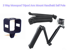 limitX 3 Way Tripod Arm Monopod Tripod Hand Grip Pole & Tripod Mount Frame Case Cover for Polaroid Cube / Cube+ Plus Camcorder