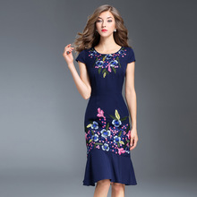 Buy 2017 NEW luxury Slim Embroidery Autumn dress Women's Clothing Package hip party dress M XXXL O-Neck Short sleeve flowers dresses for $51.75 in AliExpress store