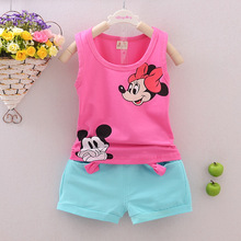 Kids Girls Boys Sets Minnie Pattern Clothing Sets Vest + Shorts 2 Pics Suits Summer Cool Baby Children Sleeveless Clothes