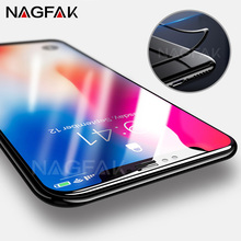 NAGFAK 3D Soft Edge Curved 9H Tempered Glass For iPhone 10 X Screen Protector Full Cover For iPhone X 10 Protective film Glass(China)