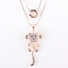 Bonsny Mouse Necklace Opal Pendant Animal Cat Eye Brand Crystal Chain New 2015 Zinc Alloy Girl Women Fashion Jewelry Accessories(China)