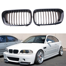 Left/Right Side Black Kidney Front Grilles For BMW 3-Series E46 Cabrio 2000 2001 2002 2003 Pre-facelift Car Styling