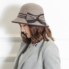 Free Shipping 2017 New Fashion Black Red Big Bow Real wool Felt Bowler Hat For Women Lady Party