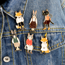 6pcs/set Mr Ms Gentleman Lady Cat rabbit fox Brooch pin Denim Animal Jacket Pin Shirt Badge Lovers jewelry Gift for couples(China)