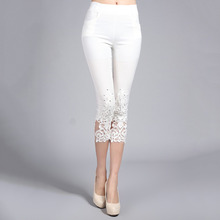 Plus Size 4XL Women Summer Lace Pants Crochet Rhinestone Skinny Stretch Cropped Leggings Trousers Capris Pants 5188