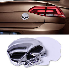 DWCX Car Styling Stickers Decal Acc Metal 3D Silver Skull Skeleton Devil Head Emblem Badge Logo Sticker Decal for Motorcycle Car(China)