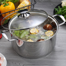 Chinese Stainless Steel Soup Pot Kitchen Cooking Hot Pot Cookware For Induction Cookers Party Stock Pot(China)