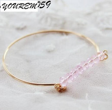 Drop ship 2017 new trendy cute pink crystal beads bangles for women alloy acrylic good quality girls bangle jewelry fj390 YOUREM