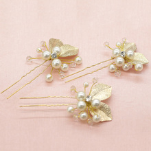 4PCS Hair Sticks Golden Leaf Pearl Jewelry Hairpins U Shape Charm Hair Ornaments Girl Gifts Wedding Accessories Hair Sticks
