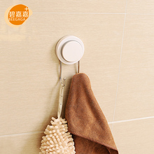 BEEGAGA Vacuum Sticky Sucker Double Stainless Steel Hooks on the Wall Seamless Hook Key Hangers for Home Organizers No Drilling(China)