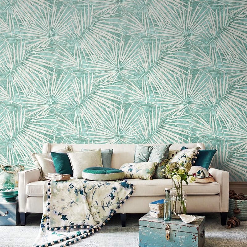 Beibehang Modern simple Southeast Asian style wallpaper palm leaves bedroom living room  background wall wallpaper for walls 3 d<br>