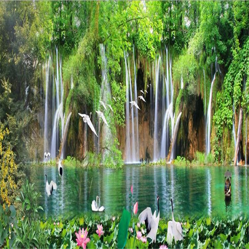 Photo Wallpaper HD Waterfall Lake Swan Photo Wallpaper 3D Living Room Bedroom Home Decor Wall paper Mural papel de parede<br><br>Aliexpress