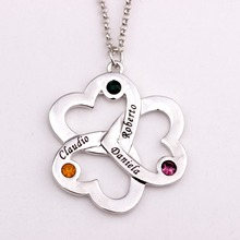 Personalized Triple Heart Necklace with Birthstones 2017 New Arrival Long Birthstone Necklaces Custom Made Any Name YP2493(China)