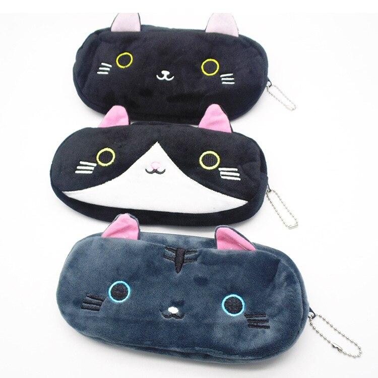 Plush Pencil Case School Supplies For Girls Stationery Office Cute Kawaii Cartoon Cat Pen Bag pouch kits Kids Gift Makeup bag (2)