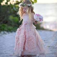 Pageant Dresses For Girls Pink Girl Holy Communion Dress Organza Long Girls Frock Designs Childrens Evening Gown Lace Custom