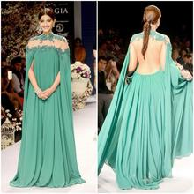 Gorgeous Bright Green Sonam Kapoor Full Sleeves Indian Style High Neck Sheer Back Sexy Evening Dresses Vestido De Festa CLD-11