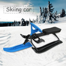 Household Snow Racer with Strong Safe Brake Snow Sled Snowmobile with Steering Wheel Ride On Snow Grass Sand Scooter Red Blue(China)