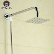 "Free Shipping 6-inch Stainless Steel Ultrathin Shower Head +59"" Stainless Steel Hose + 15"" Shower Arm"