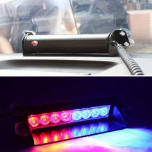 8 LED Red/Blue Car Police Strobe Flash Light Dash Emergency 3 Flashing Light