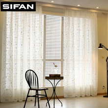 New White/Blue Leaves Embroidered Tulle Curtains for Living Room Voile Curtains for the Bedroom Sheer Curtains Window Curtains(China)