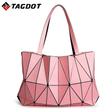 2017 New Women Fashion BAOBAO Bag Geometry Package Matte Saser Plain Folding Ladies Handbags Sac Shoulder Bags Tote Bags