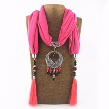 Ethnic Cotton and linen Tassel Swan Alloy pendant Scarf Fashion Lady Jewelry Ceramic beads Scarf Necklace Women decorate Scarves(China)