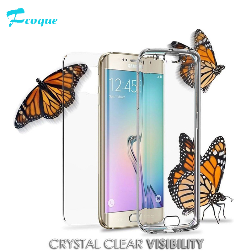 Fcoque Case For Samsung Galaxy S8 S8Plus S7 S7Edge Cover Soft TPU Full body Protective Crystal Clear front back Phone coque bag