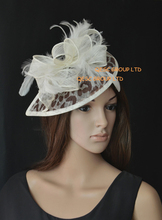 NEW Cream brown leopard print Sinamay  Fascinator hat with feather for wedding kentucky derby church,FREE SHIPPING