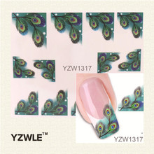 YZWLE Japanese Style Watermark Nail Art Sticker 3D Design Cute Green Feather, Water Transfer