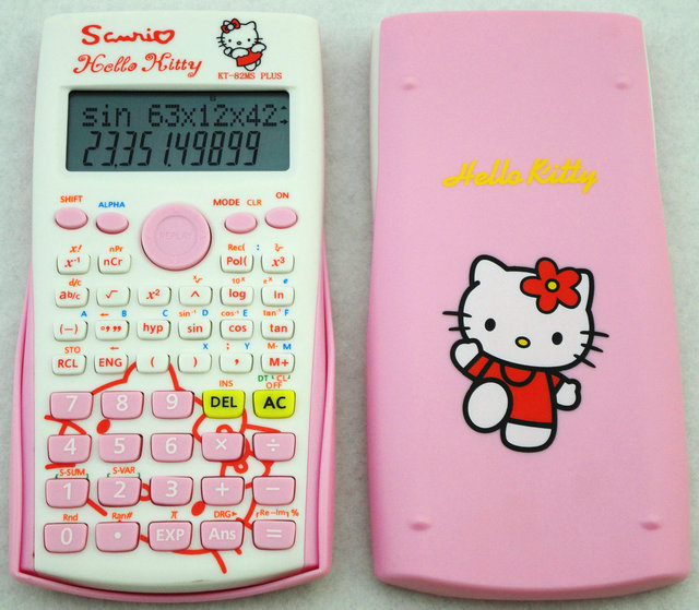 Pink Cute Cartoon Kawaii Student Hello Kitty Scientific Calculator Function Counter Computer Calculadora Cientifica KT-82MS Plus(China (Mainland))