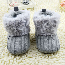 Baby Girl Shoes 7 Colors Toddler Knited Faux Fleece Crib Snow Boots Kid Bowknot Woolen Yam Fur Knit Shoes