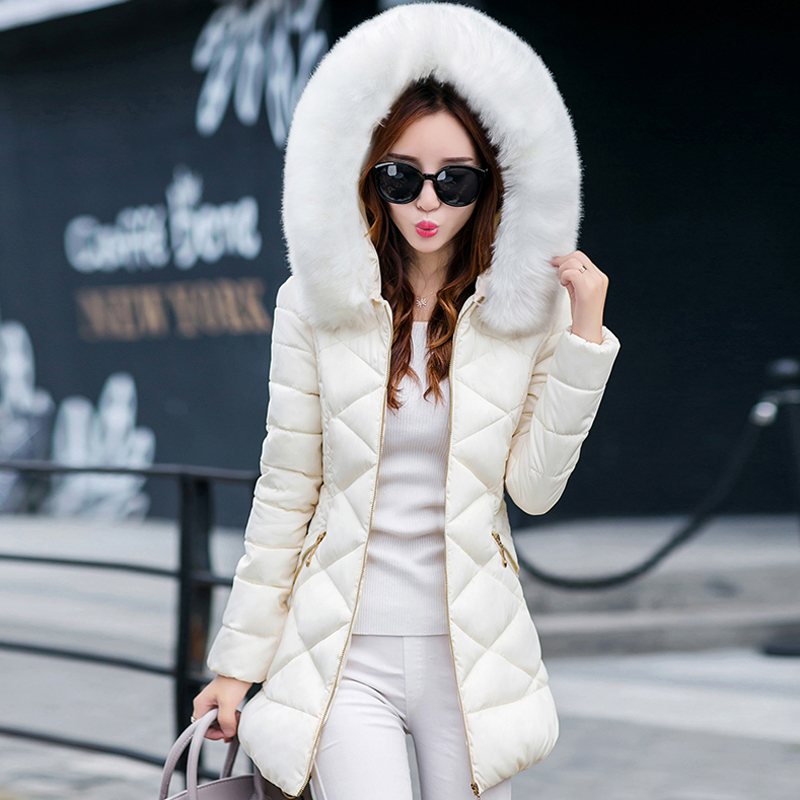 Faux Fur Hood Cotton Long Jackets Women Winter Fashion Long Sleeve Casual Coats Woman Warm Slim Parkas Female Ladies Clothes