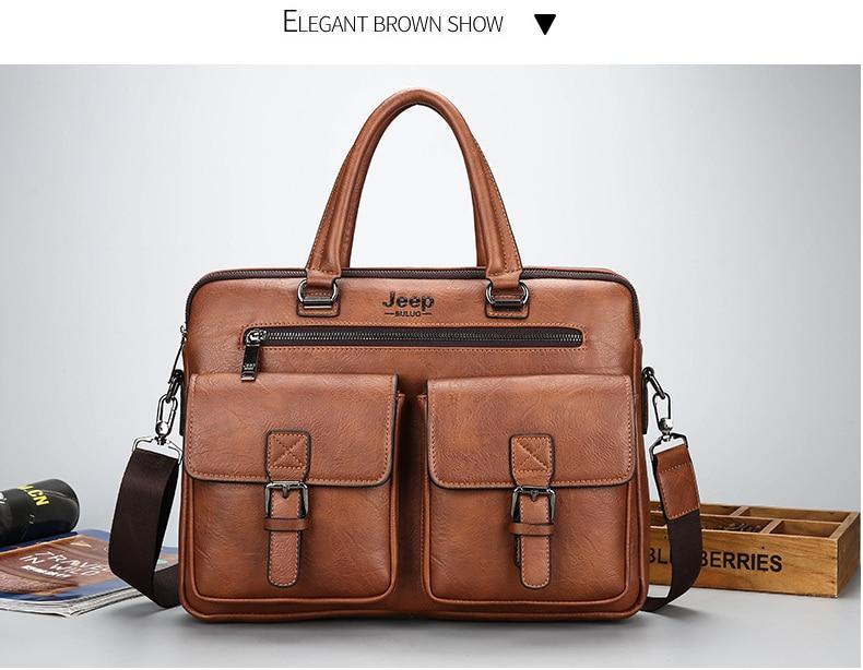 elegant leather briefcase in brown