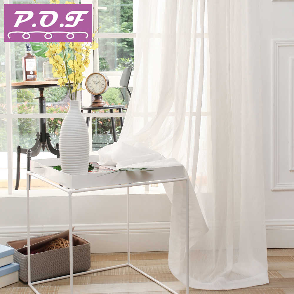 P.O.F Pure White 35% Shading Rate Thick Sheer Curtains for living room  elegent design classic style accept customization