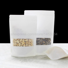 100pcs/lot,small white kraft paper bags stand up Zipper/zip lock packaging bag with window PE inside kraft bag