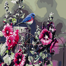 Frameless Flowers Bird Painting DIY Painting By Numbers Kits Acrylic Paint On Canvas Handpainted Oil Painting For Wall Artwork