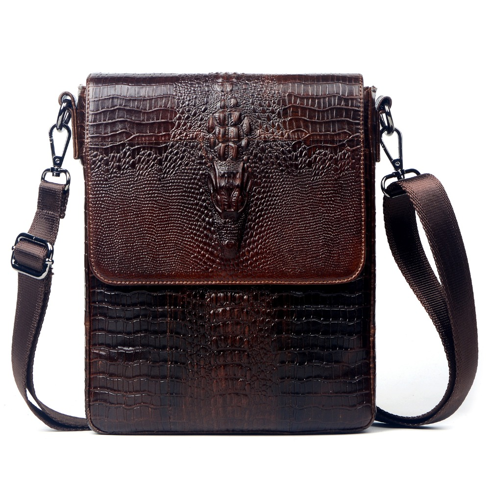 new arrival high quality 100% Genuine Leather Bag For Men Crocodile Style Mens Business Messenge Bag Tablet PC shoulder handbag<br>