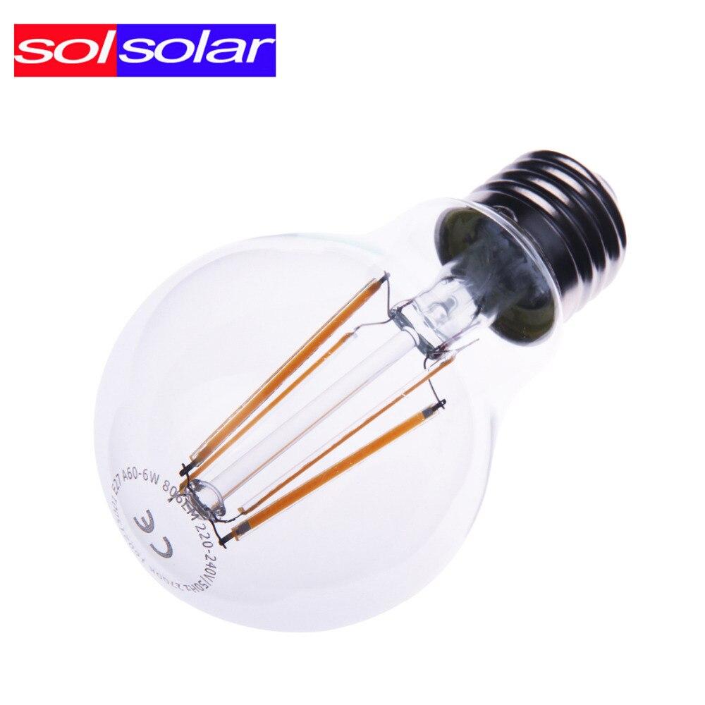 SOLSOLAR 806LM A60 E27 LED Bulbs 6W Edison Led Filament Bulb Global Light Bulb clear glass indoor lighting lamp AC220V<br><br>Aliexpress