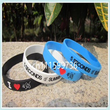 1PC,I Love 5 SECONDS OF SUMMER wristband,I Love 5 SOS bracelet,3 colours,filled in colour,debossed,free shipping