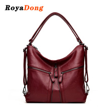 RoyaDong 2017 New Big Women Bags Soft Leather Hobos Female Handbags Fashion Shoulder Bags Ladies High Quality Design Bag(China)