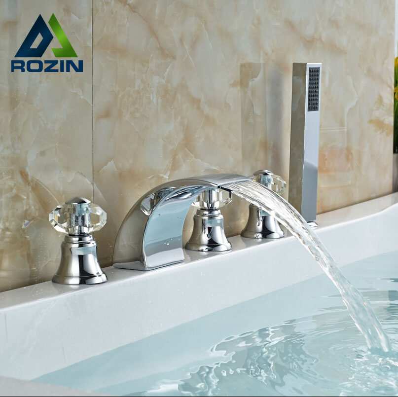 Modern Waterfall Chrome Tub Filler With Handshower Bathroom Bathtub Faucet 5pcs Bathtub Mixer Taps 3 Handles<br><br>Aliexpress