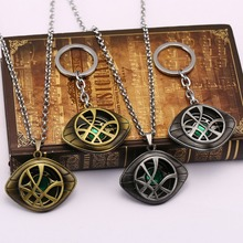 Newest Grow in Dark Doctor Strange Necklace Eye Shape metal chain Pendant necklace Leather Cord Long Necklace Cosplay Jewelry(China)