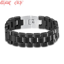 BLEUM CADE Top Quality Health Men Bracelet Bangle 316L Stainless Steel Jewelry Black Enamel Bracelets(China)