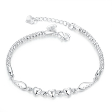 Jemmin Lovely Birthday Gift For Woman Girls Real 925 Sterling Silver Little Heart Link Bracelets Bangles 2016 Popular Jewelry