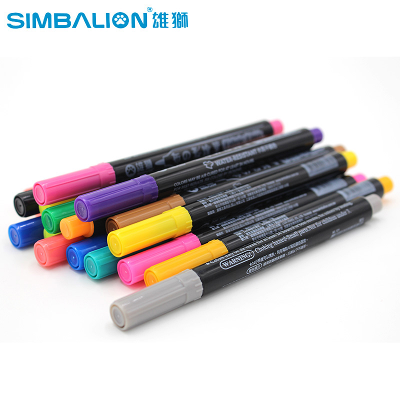 Simbalion Fabric and T-Shirt Liner Marker 20 Colors/Set Textile Paint Cloth Pigment DIY Painting Supplies<br>
