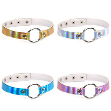 Trendy Holographic Choker PU Leather Chocker Handmade Metal Laser Chocker Rainbow Punk Gothic Necklace Gift for Women(China)