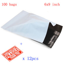 "152*228mm Waterproof and Tear-proof Postal Bags 6x9"" White-Gray Poly Mailer Envelopes Shipping Bags with Self Adhesive 100p/lot(China)"